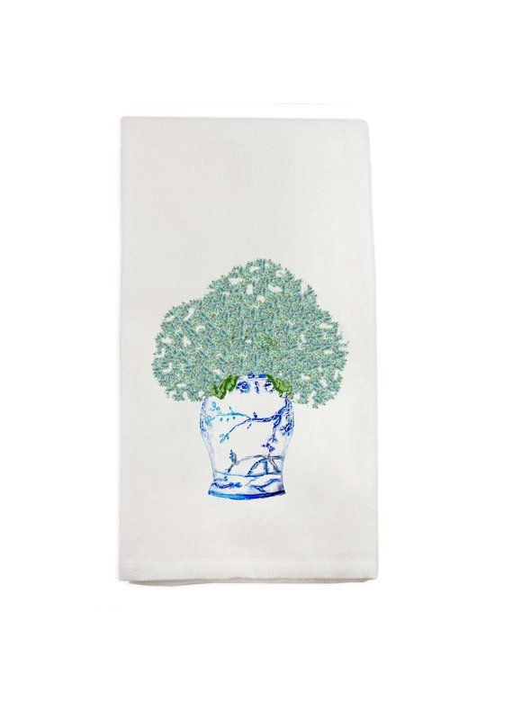French Graffiti Blue White Jar w Hydrangeas Dishtowel
