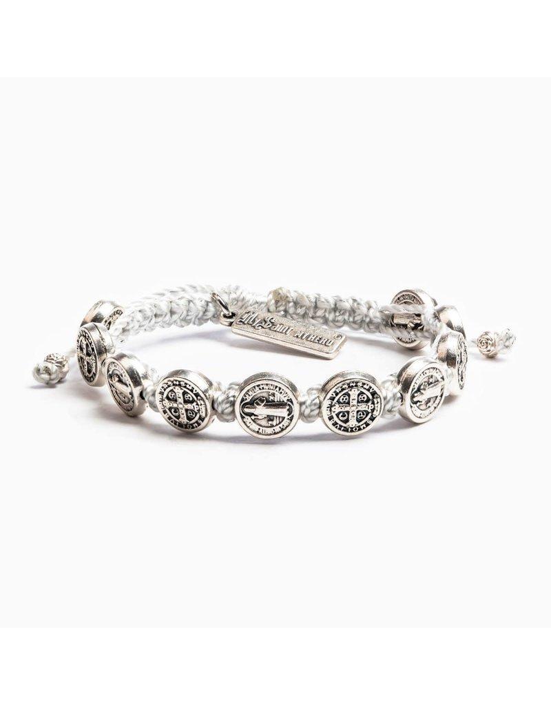 My Saint My Hero Silver Metallic Benedictine Blessing Bracelet