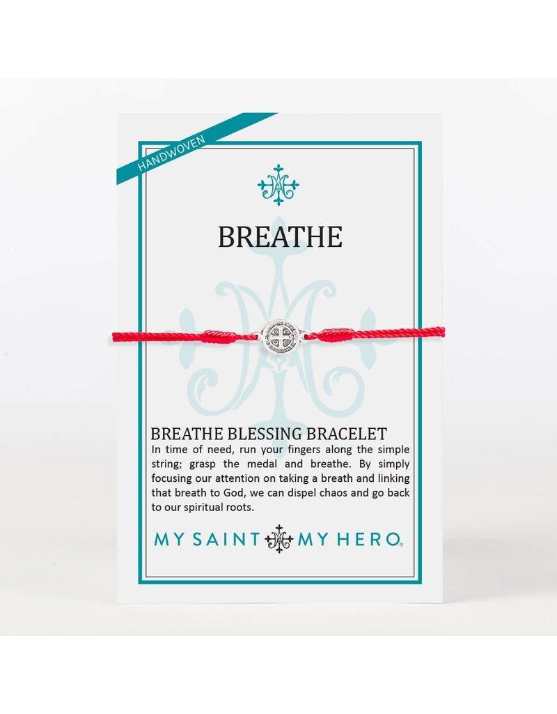My Saint My Hero Red & Silver Breathe Blessing Bracelet