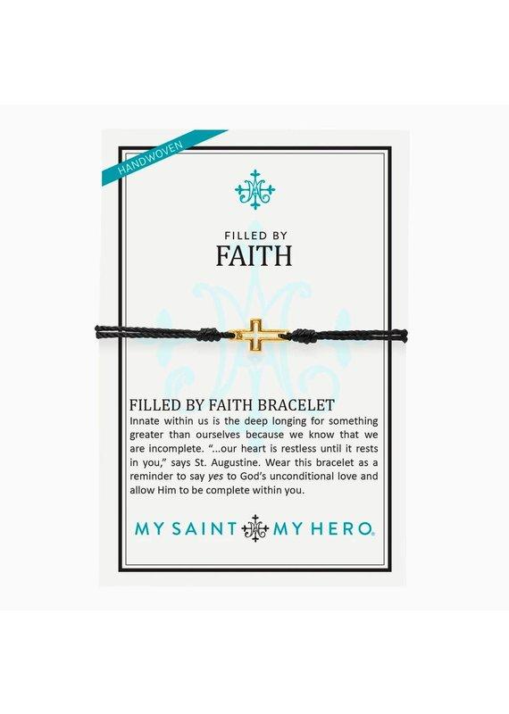 My Saint My Hero Black & Gold Filled by Faith Bracelet