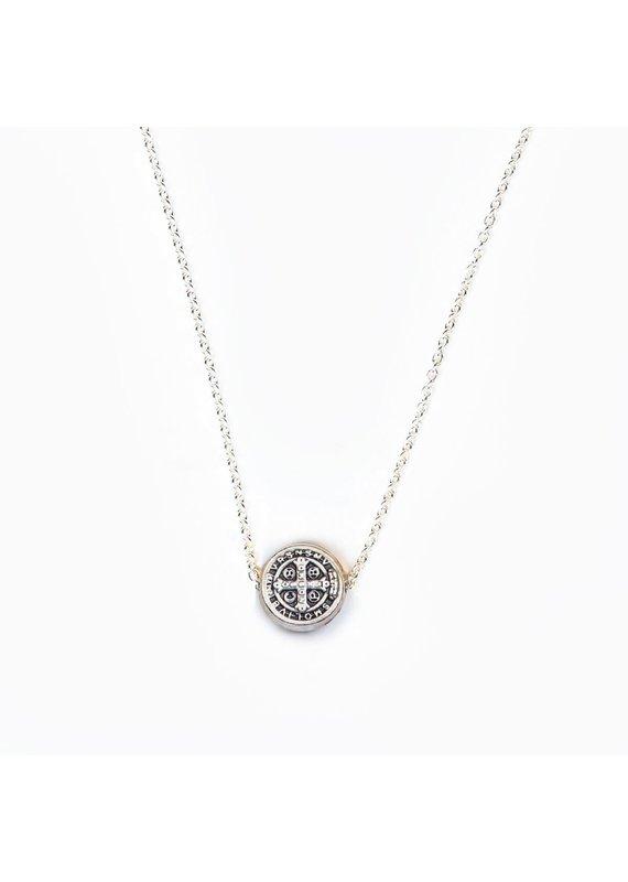 My Saint My Hero Silver Benedictine Blessing Petite Necklace