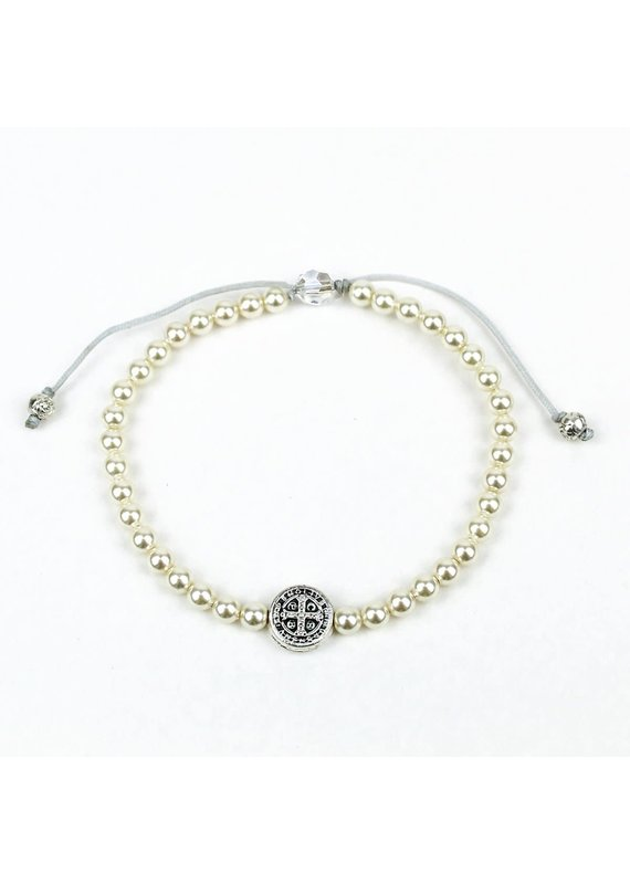 My Saint My Hero Pearl Birthday Blessing Bracelet in Silver