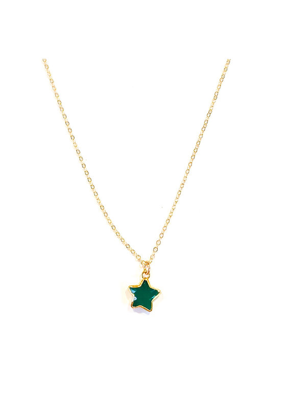 Ornamental Things Star Stone GF Green Onyx Necklace