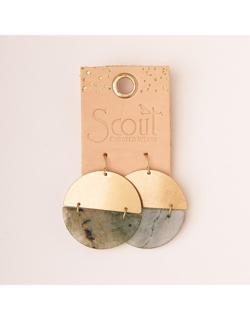 Scout Stone Full Moon Earring in Rhodonite & Gold