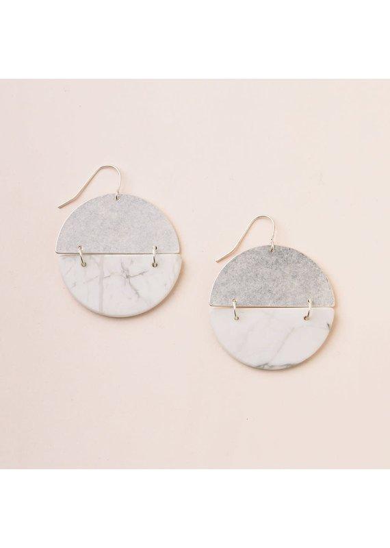 Scout Stone Full Moon Earring in Howlite & Silver