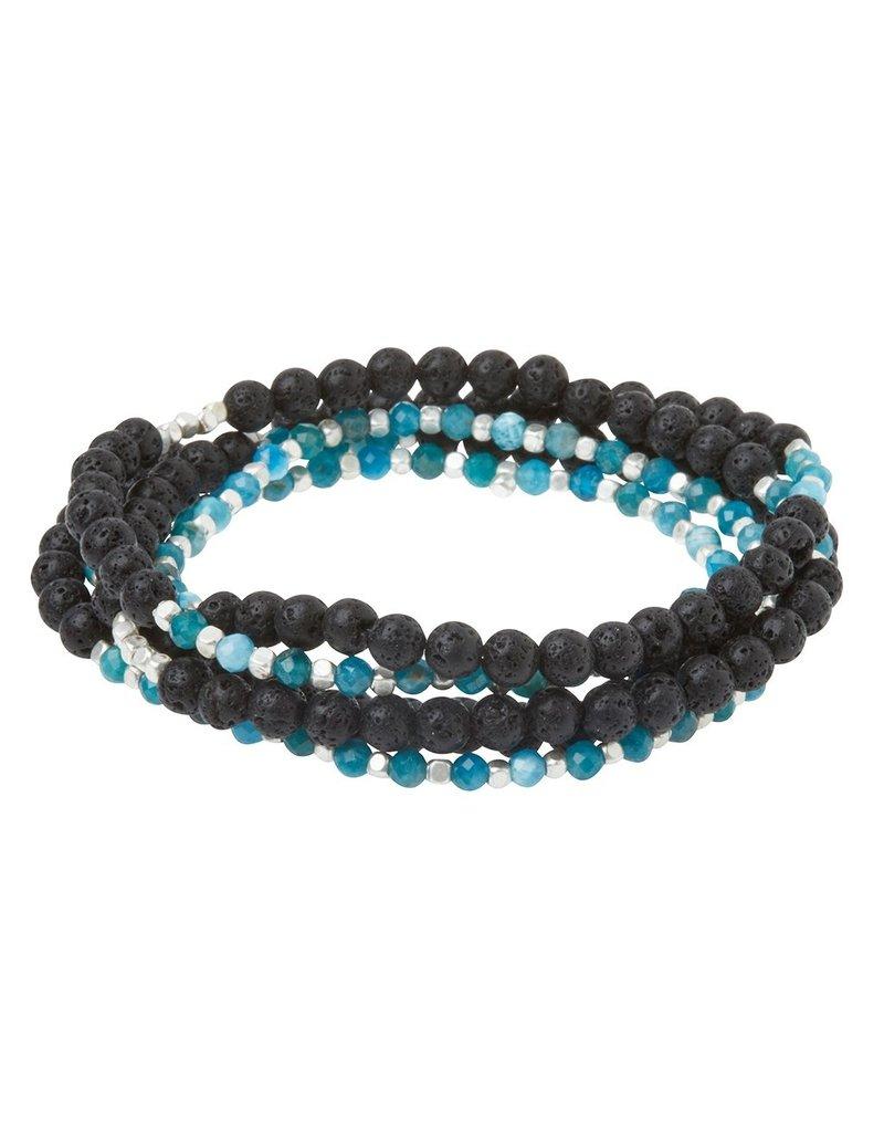 Scout Stone Duo Wrap Bracelet/Necklace/Pin - Lava & Apatite/Silver