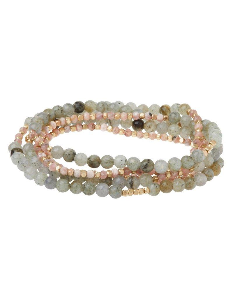 Scout Stone Duo Wrap Bracelet/Necklace/Pin - Rhodochrosite & Labradorite/Gold