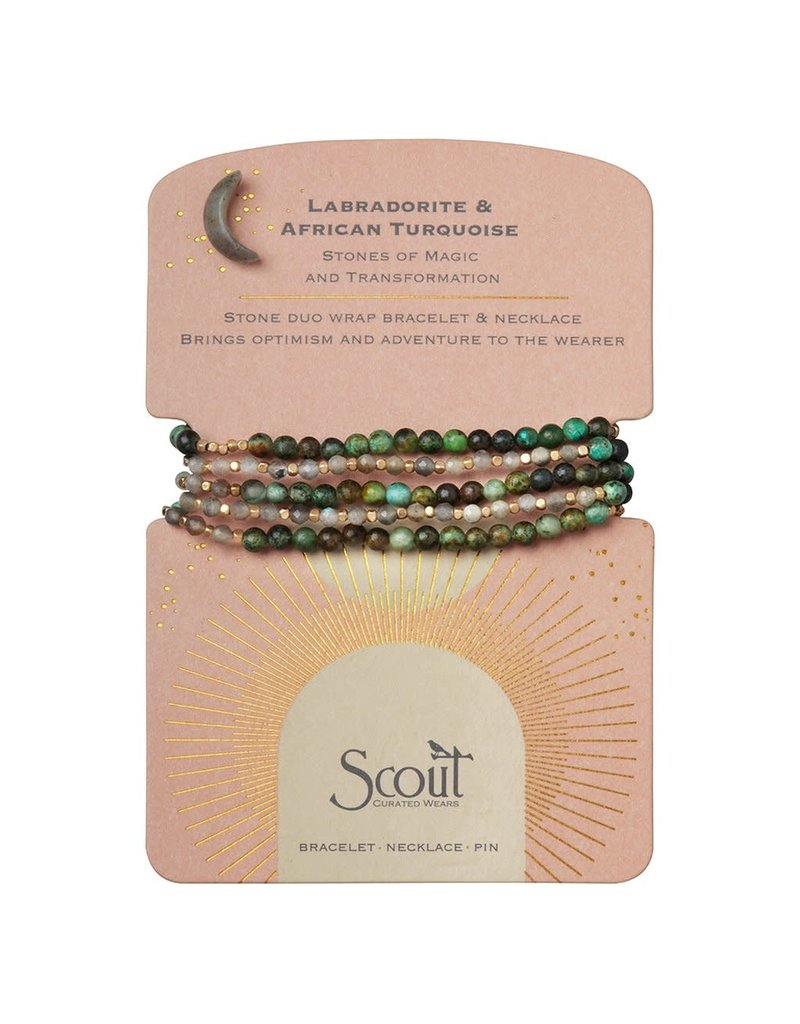 Scout Stone Duo Wrap Bracelet/Necklace/Pin - Labradorite & African Turquoise/Gold