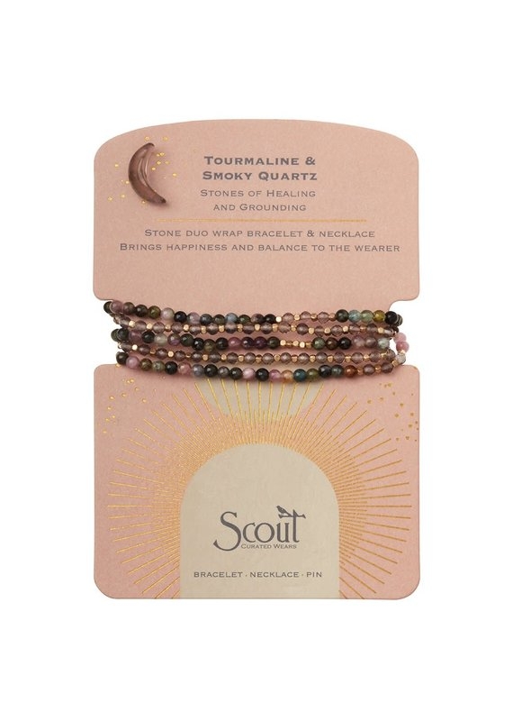 Scout Stone Duo Wrap Bracelet/Necklace/Pin - Tourmaline & Smoky Quartz