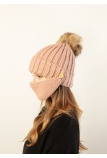 Look By M Black Chunky Ribbed Masked Hat