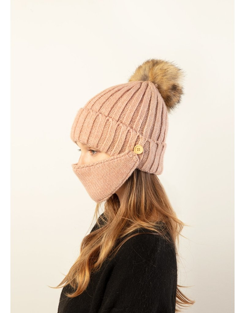 Look By M Cream Chunky Ribbed Masked Hat