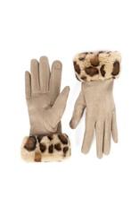 COCO + CARMEN Tan Leopard Faux Fur Cuff Touchscreen Gloves