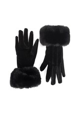 Look By M Black Velvet and Faux Fur Touchscreen Gloves
