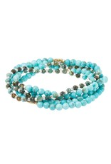Scout Stone Duo Wrap Bracelet/Necklace/Pin - Turquoise & African Turquoise Gold/Silver