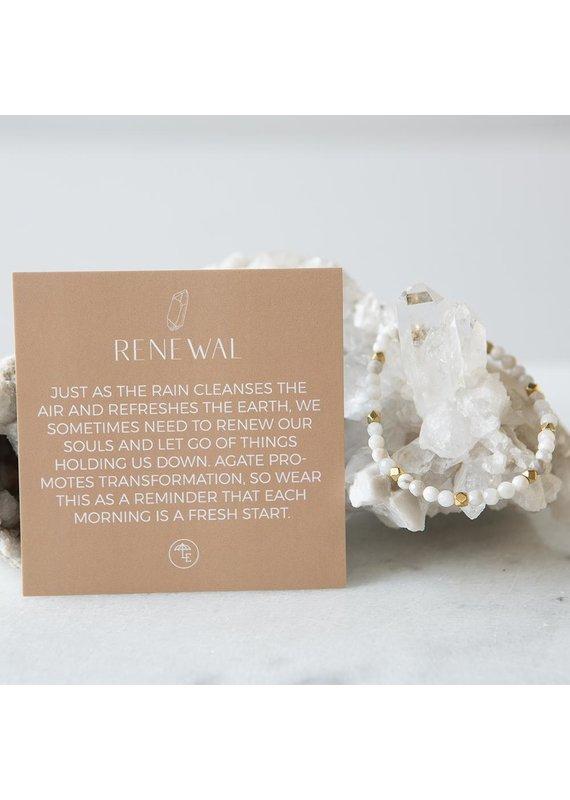 Lenny & Eva 4mm Gemstone Bracelet Gray Agate