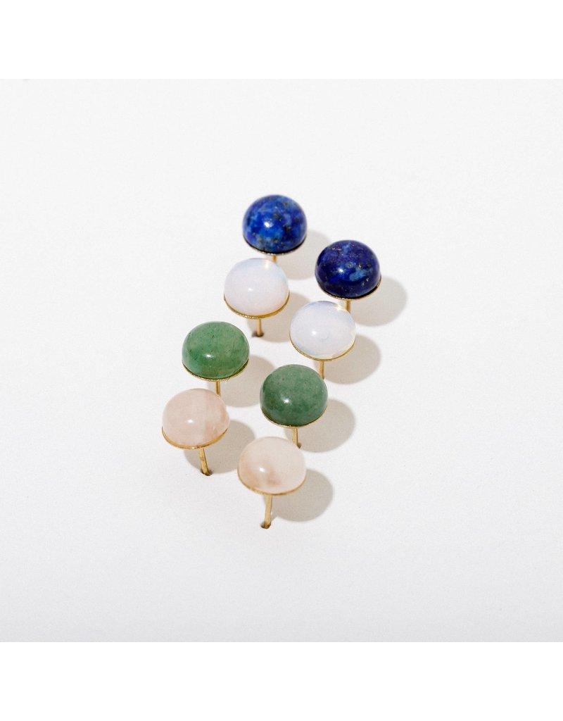 Larissa Loden Gemstone Post Earrings in Green Aventurine