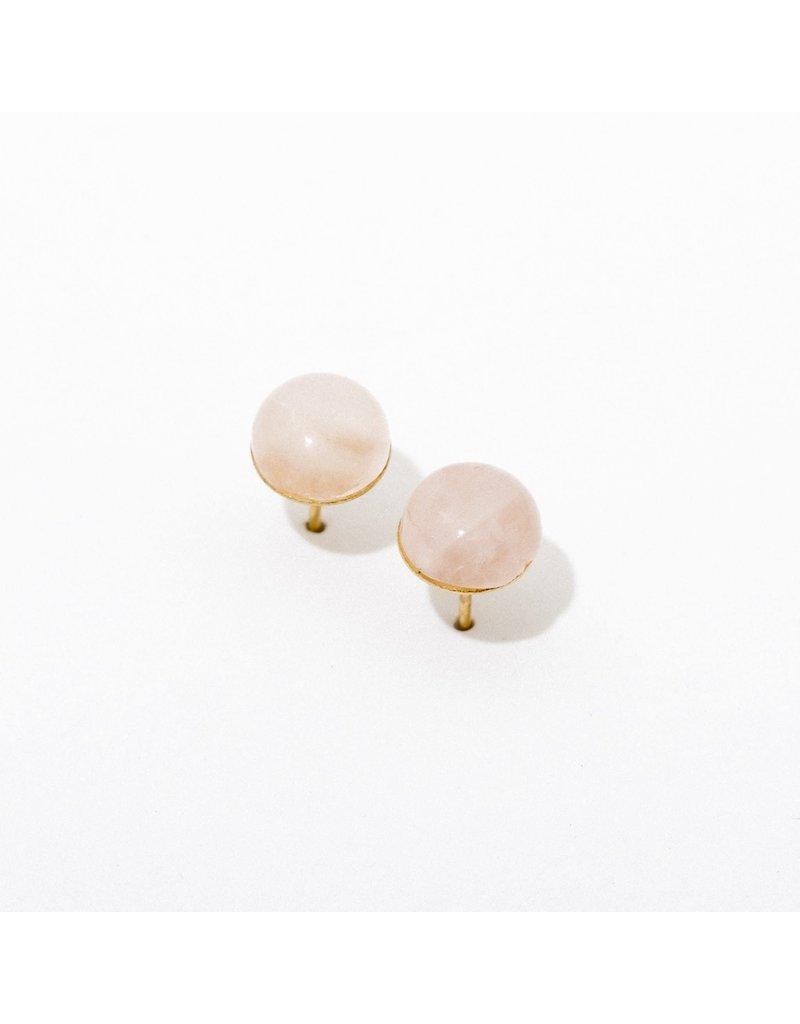 Larissa Loden Gemstone Post Earrings in Rose Quartz