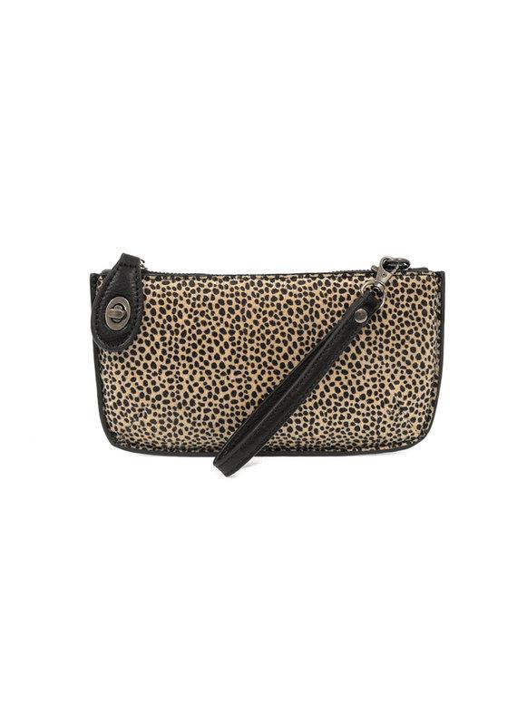Joy Susan Black Faux Cheetah Hide Mini Crossbody Wristlet Clutch