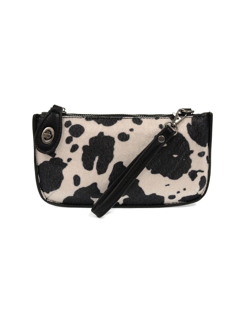 Joy Susan Black Faux Fur Cow Hide Mini Crossbody Wristlet Clutch