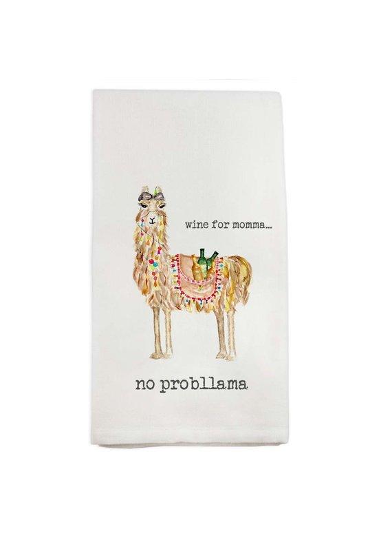 French Graffiti Llama Wine for Momma Dishtowel