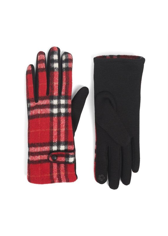 COCO + CARMEN Belted Plaid Touch Gloves in Red