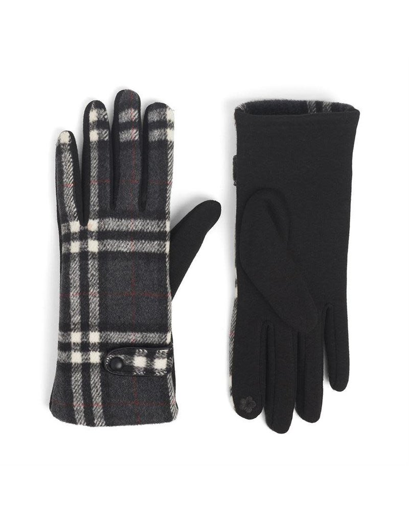 COCO + CARMEN Belted Plaid Touch Gloves in Grey