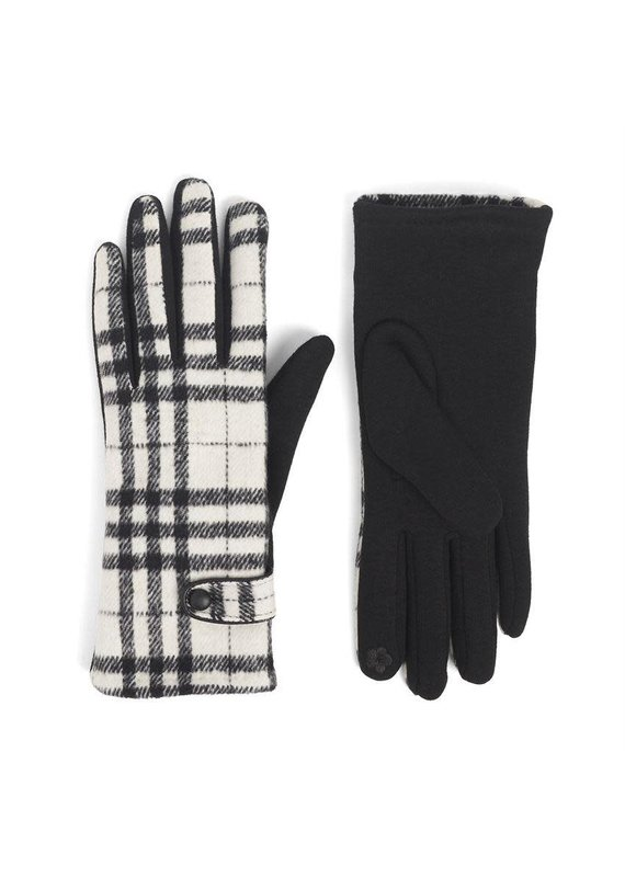 COCO + CARMEN Belted Plaid Touch Gloves in White