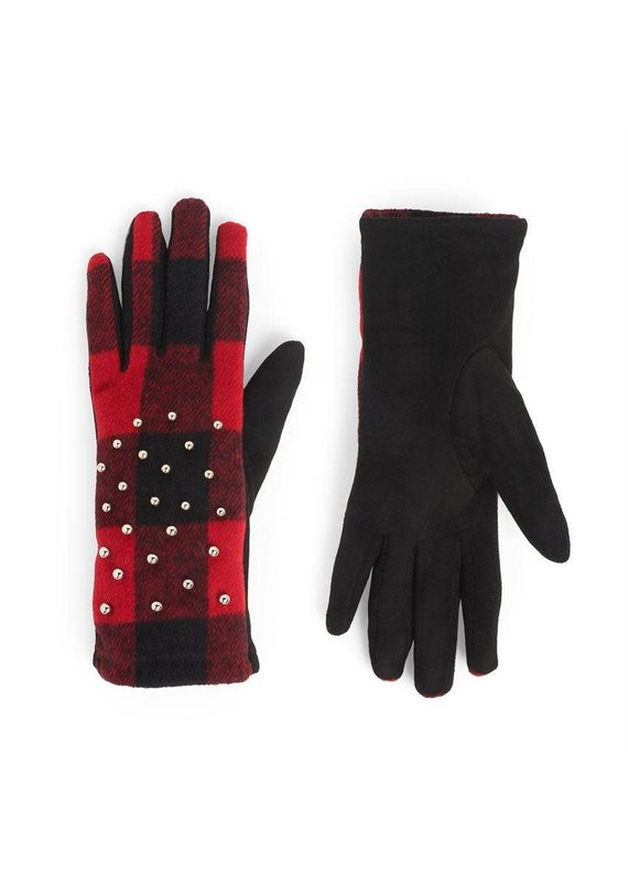 COCO + CARMEN Studded Plaid Touch Gloves in Red