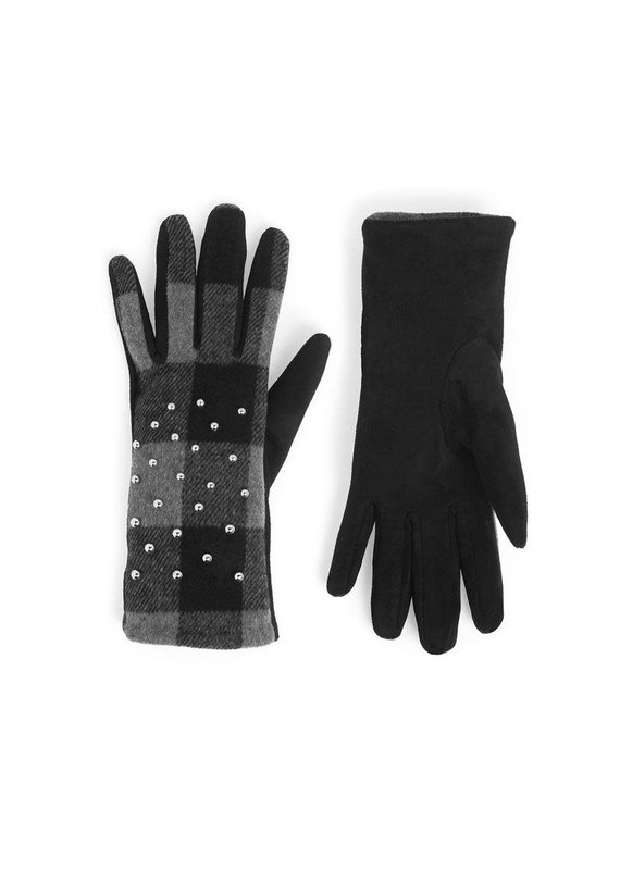 COCO + CARMEN Studded Plaid Touch Gloves in Grey