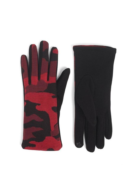 COCO + CARMEN Camo Touch Glove in Red Black