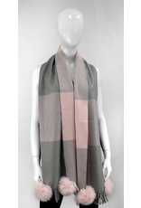 Mitchies Matchings Pink and Grey Block Scarf w Fox Pom
