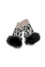 Mitchies Matchings Pearl Black Animal Print Fingerless Glove w Crystal & Fox Trim