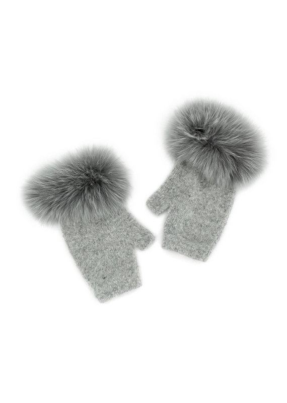Mitchies Matchings Grey Knit Fingerless Glove w Fox Trim