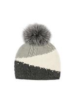 Mitchies Matchings Grey Colour Block Knit w Indigo Fox Pom