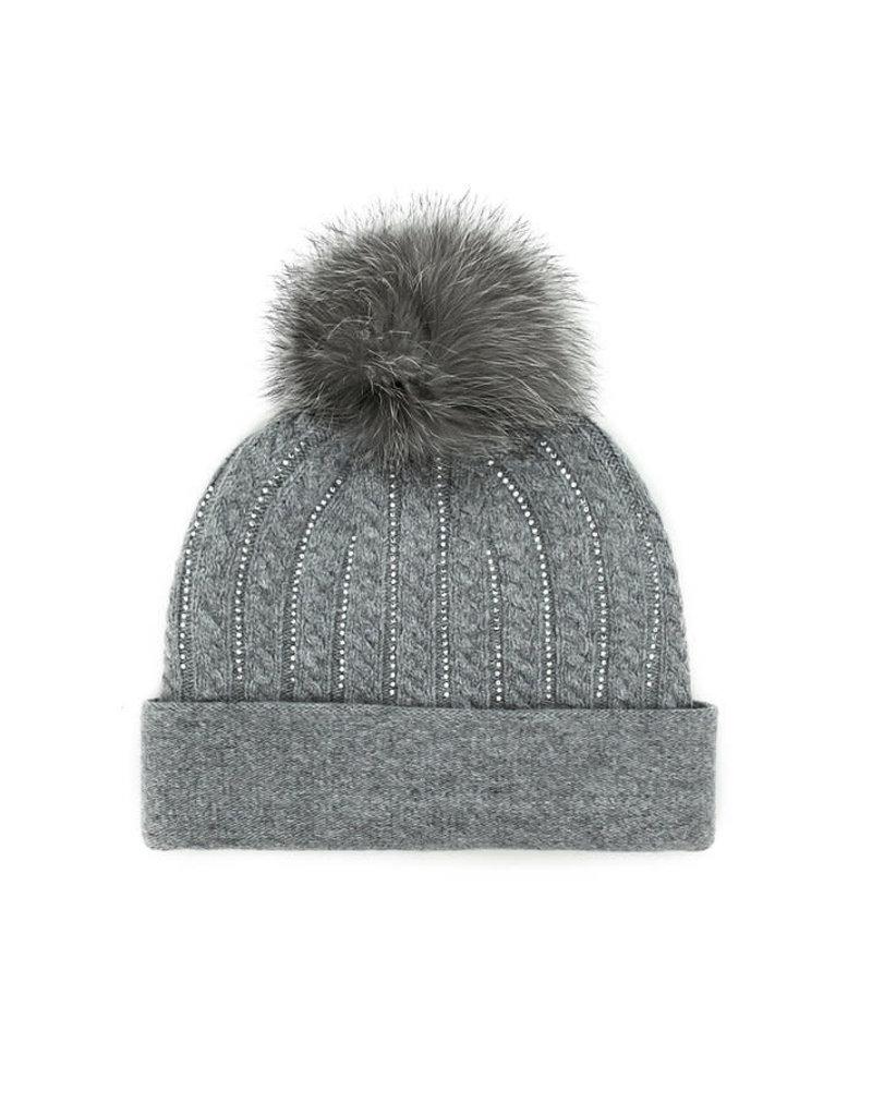 Mitchies Matchings Grey Cable Knit Hat w Fox Pom Pom