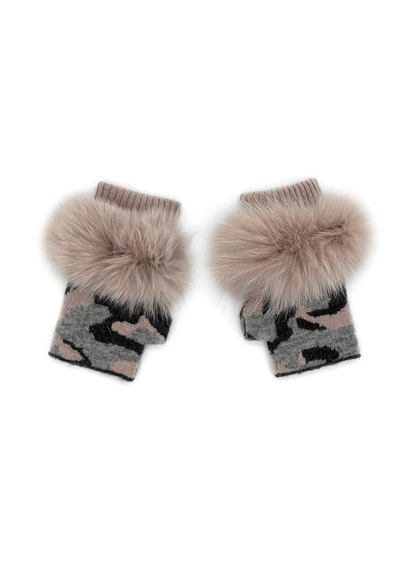 Mitchies Matchings Dusty Pink Camo Fingerless Glove w Fox Trim