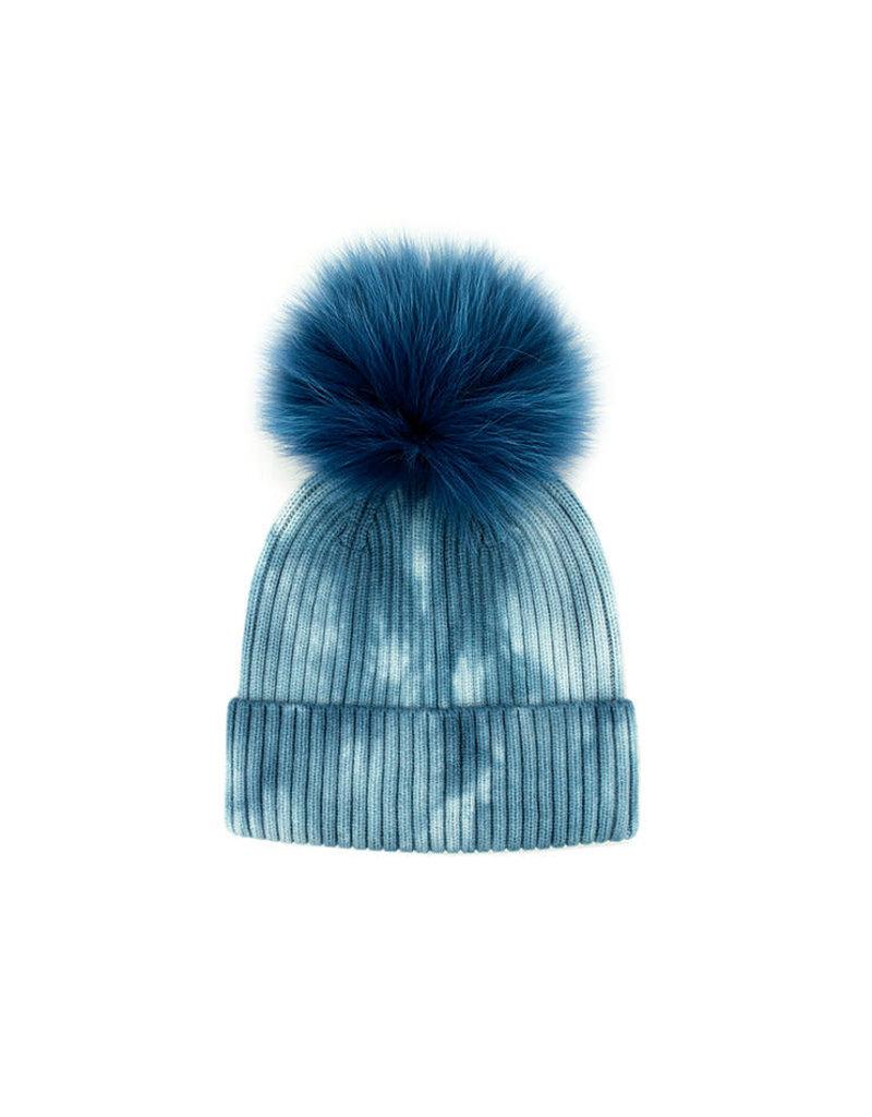 Mitchies Matchings Blue Knit Tie Dye w Fox Pom Pom
