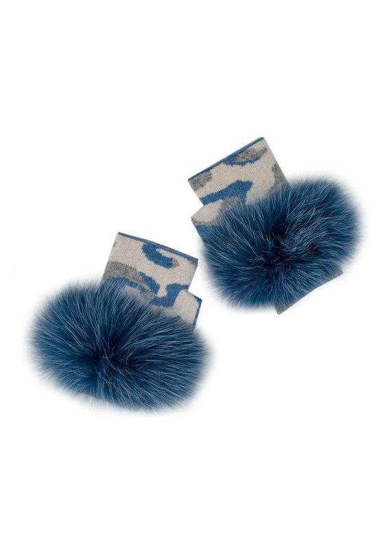Mitchies Matchings Blue Camo Fingerless Glove w Fox Trim