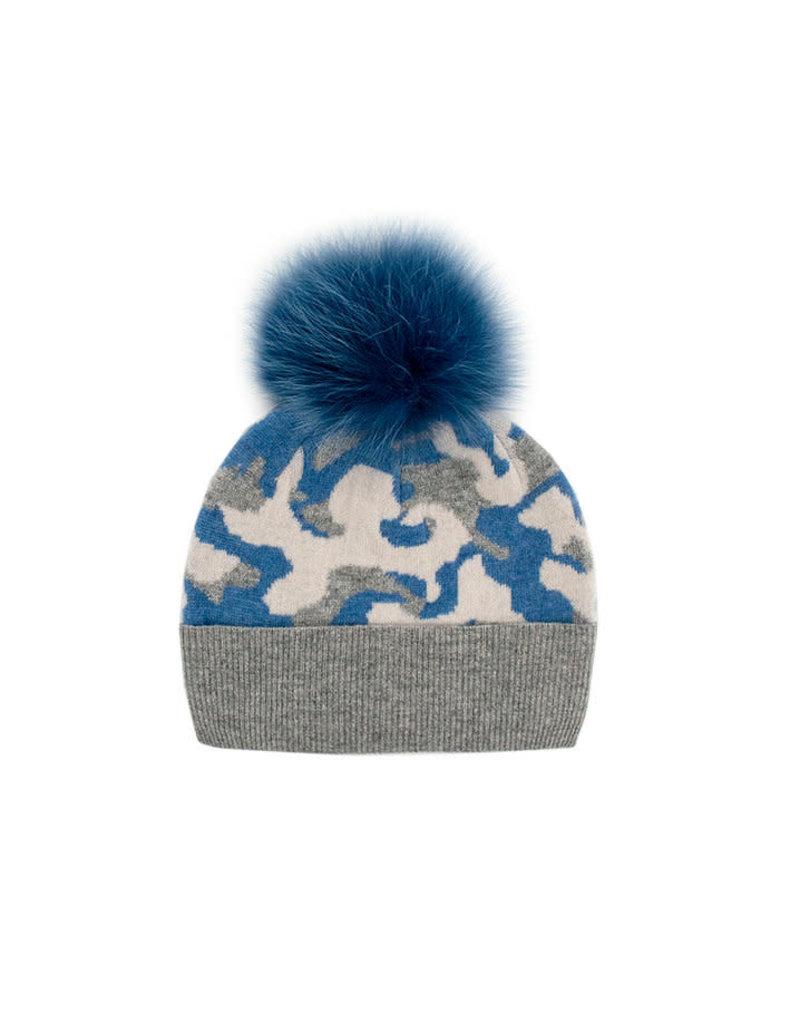 Mitchies Matchings Blue & Grey Camo Fox Pom