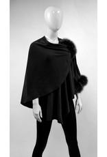 Mitchies Matchings Black Wool Knit Wrap w Fox Pom