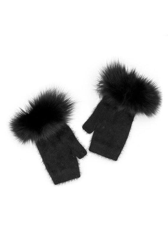 Mitchies Matchings Black Knit Fingerless Glove w Fox Trim
