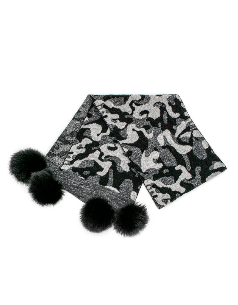 Mitchies Matchings Black Camo Scarf w Fox Pom