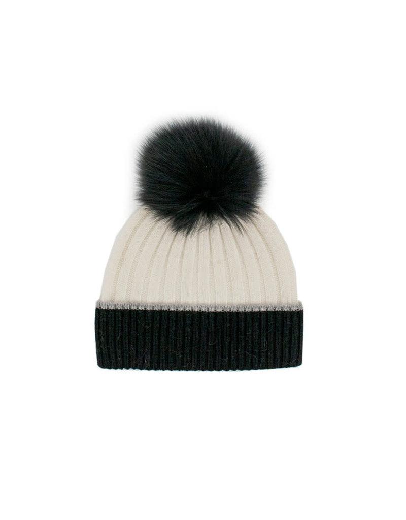 Mitchies Matchings Black & White Knit Border w Fox Pom