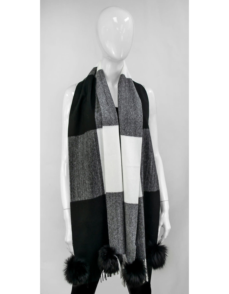 Mitchies Matchings Black & White Block Scarf w Black Fox Pom