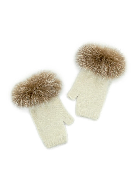 Mitchies Matchings Beige Knit Glove w Fox Trim