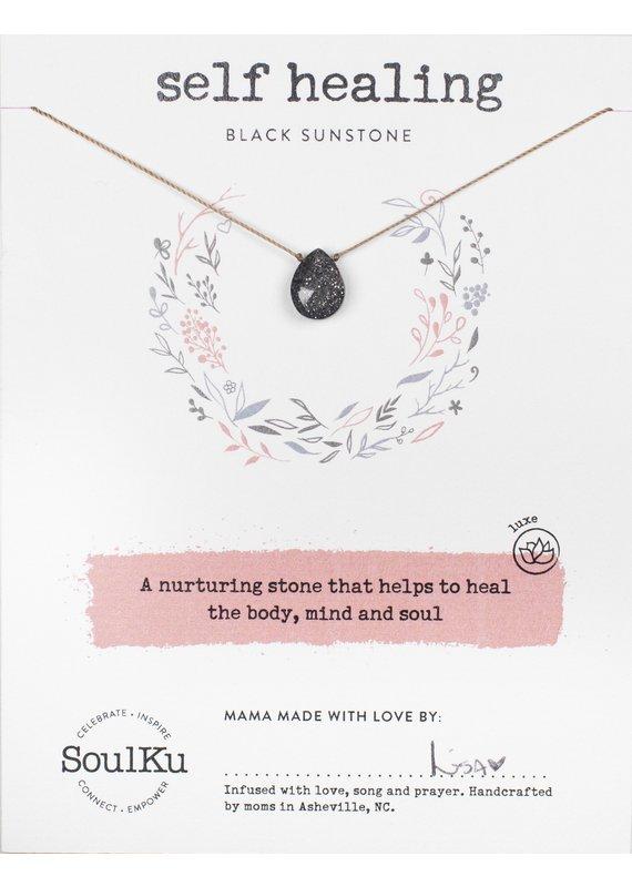 SoulKu Black Sunstone Luxe Necklace for Self Healing