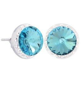 Halo Stud Earrings (Aquamarine)