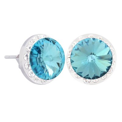 Forever Crystals Halo Stud Earrings (Aquamarine)