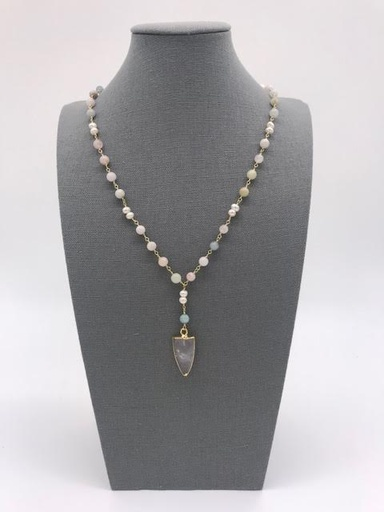 Amazonite Arrow Head Necklace with Mother of Pearl