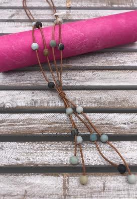 Amazonite Bead on Tan Rope